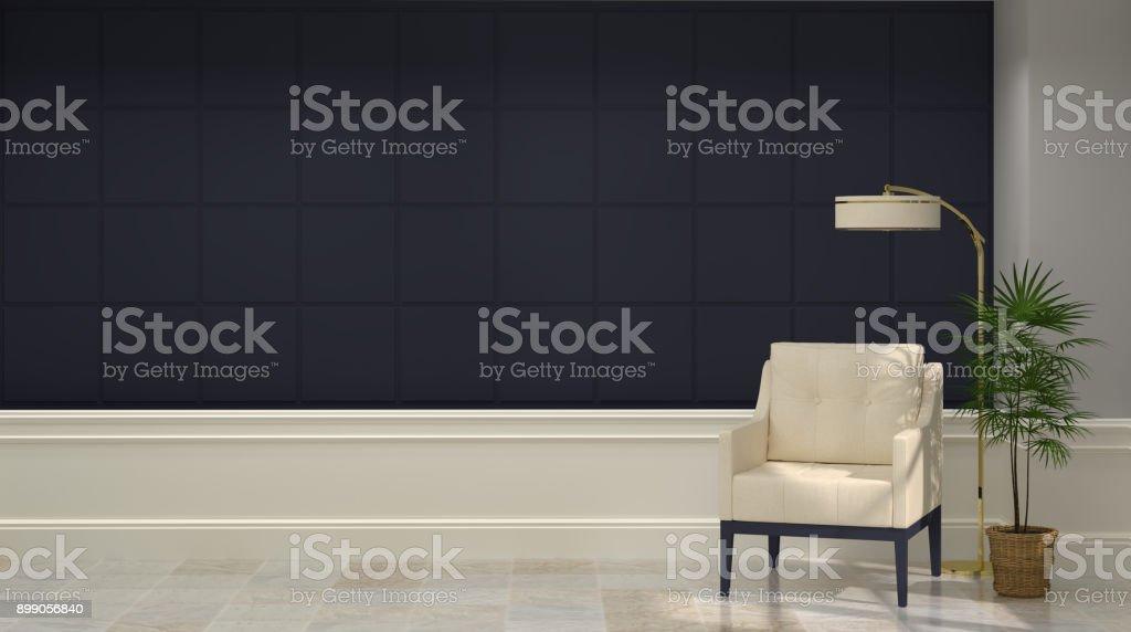 Fauteuil en rendu d intérieur classique mid moderne accueil
