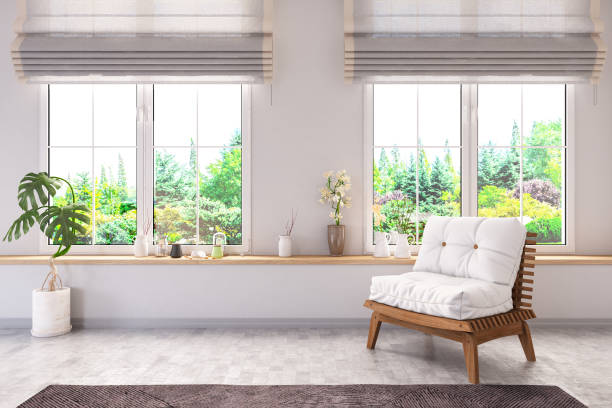 Armchair in Living Room with Forest View stock photo