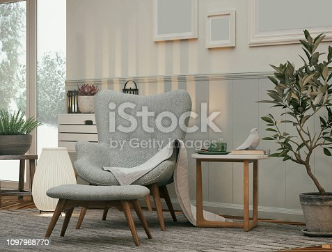 Picture of a cozy armchair in the living room. Render image.