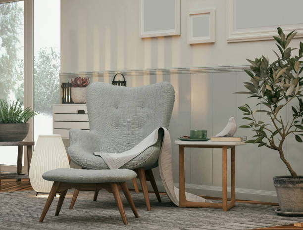Armchair in the Living room Picture of a cozy armchair in the living room. Render image. armchair stock pictures, royalty-free photos & images