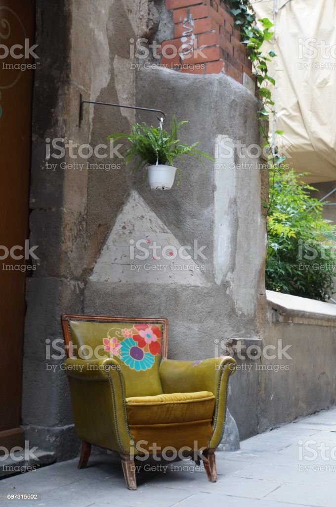 Armchair in the street stock photo