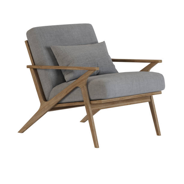 Armchair on wooden legs. Isolate. 3D rendering. Armchair on wooden legs. Isolate. 3D rendering. armchair stock pictures, royalty-free photos & images