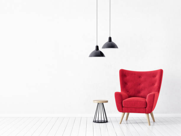 armchair modern living room  with  red armchair and lamp. scandinavian interior design  armchair stock pictures, royalty-free photos & images