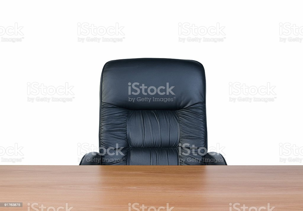Armchair with black cushion and wood table stock photo