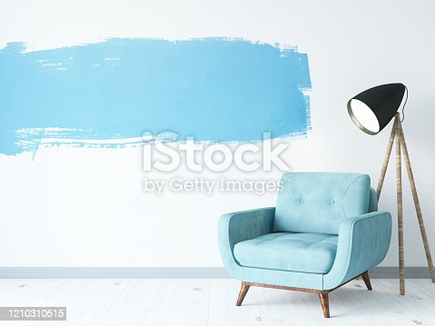 902720222 istock photo Armchair with Blue Wall Paint 1210310515