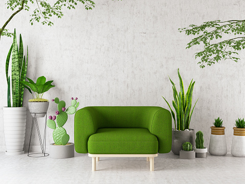 Armchair with Green Plants Flowers and Cactuses. 3d Render