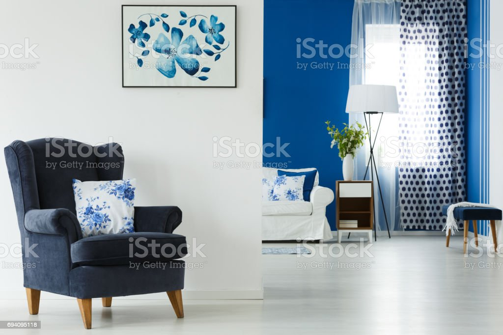 Armchair with pillow stock photo
