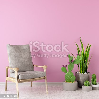 902720222 istock photo Armchair with Pink Wall and Plants 1213511758
