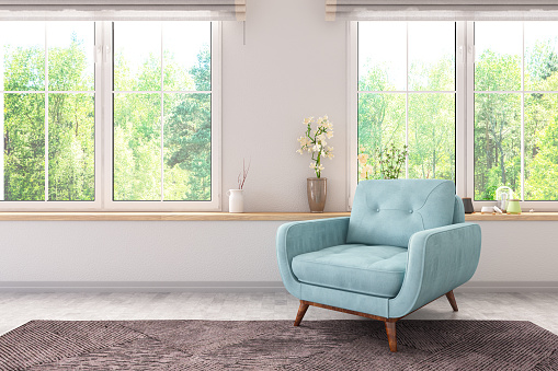 Armchair with Windows. 3d Render