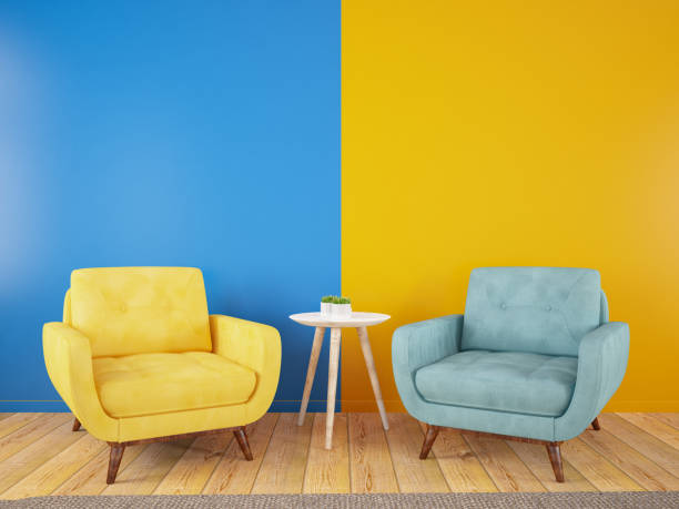 Armchairs Divided in Half into Two Parts in the Middle. Yellow Blue Modern and Colorful Cozy Concept Armchair Divided in Half into Two Parts in the Middle. 3d Render armchair stock pictures, royalty-free photos & images