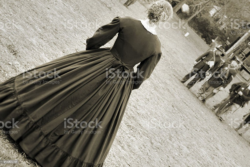 Armed and Dangerous: Striking Civil War Woman Faces Army stock photo