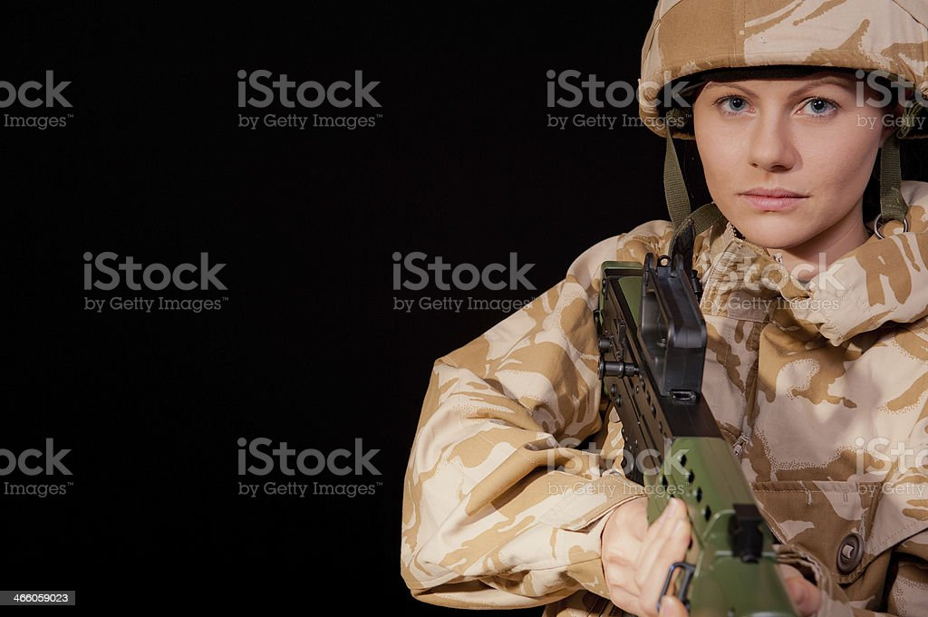 Armed Army Girl stock photo