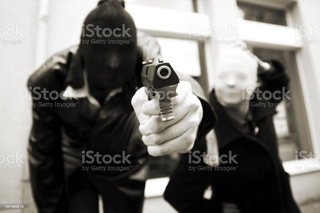 armed Bank robbers stock photo