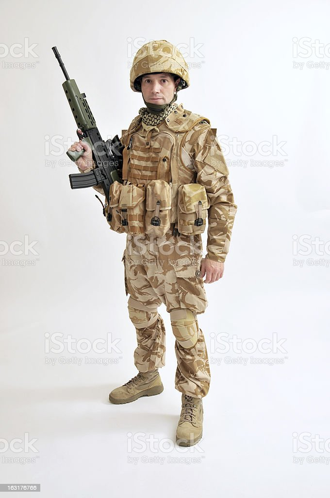 Armed British Soldier stock photo