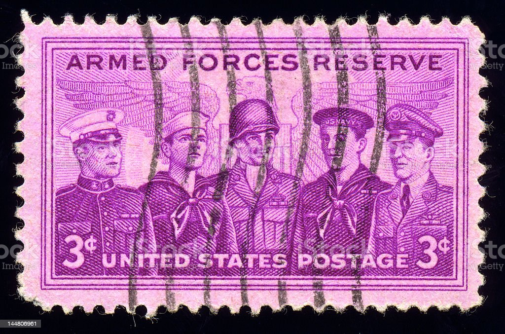 Armed Force Reserve Stamp from 1955 isolated on black royalty-free stock photo