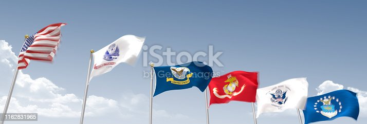 US Armed Forces Flags in a row on flagpoles
