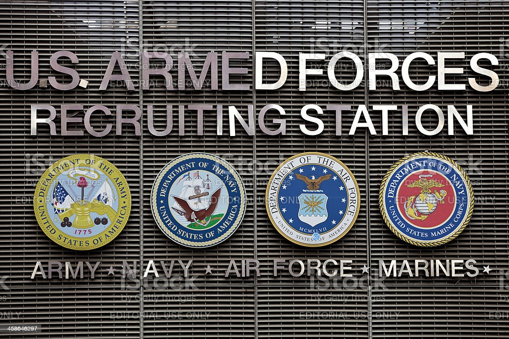 U.S Armed Forces Recruiting sign stock photo