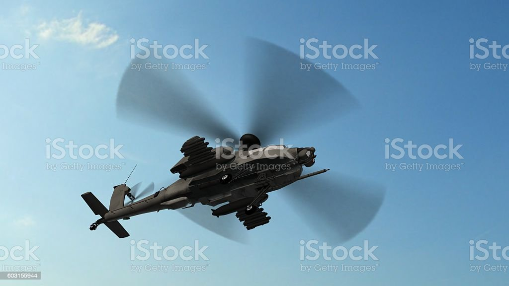armed longbow apache helicopter in flight stock photo