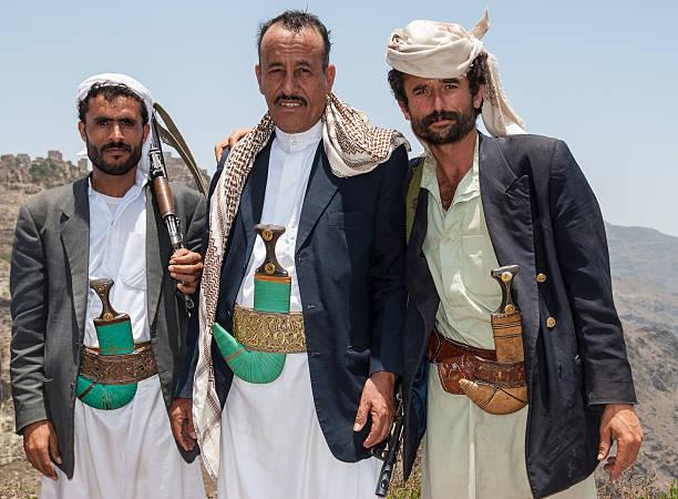 Armed men in Yemen stock photo