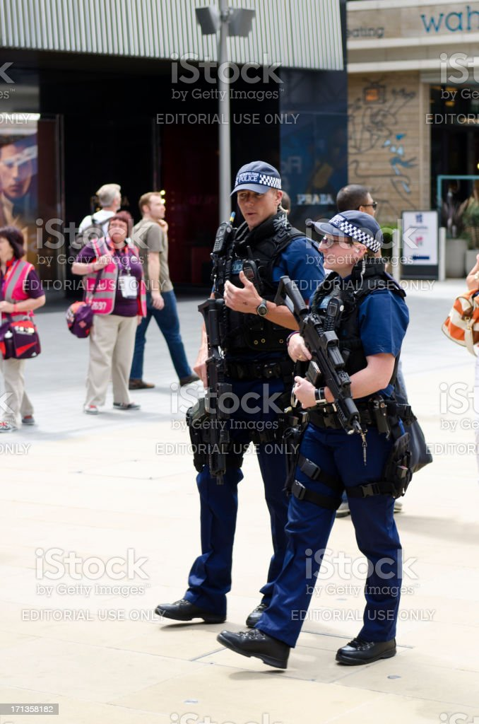 Armed Police on patrol during the London 2012 Olympics royalty-free stock photo