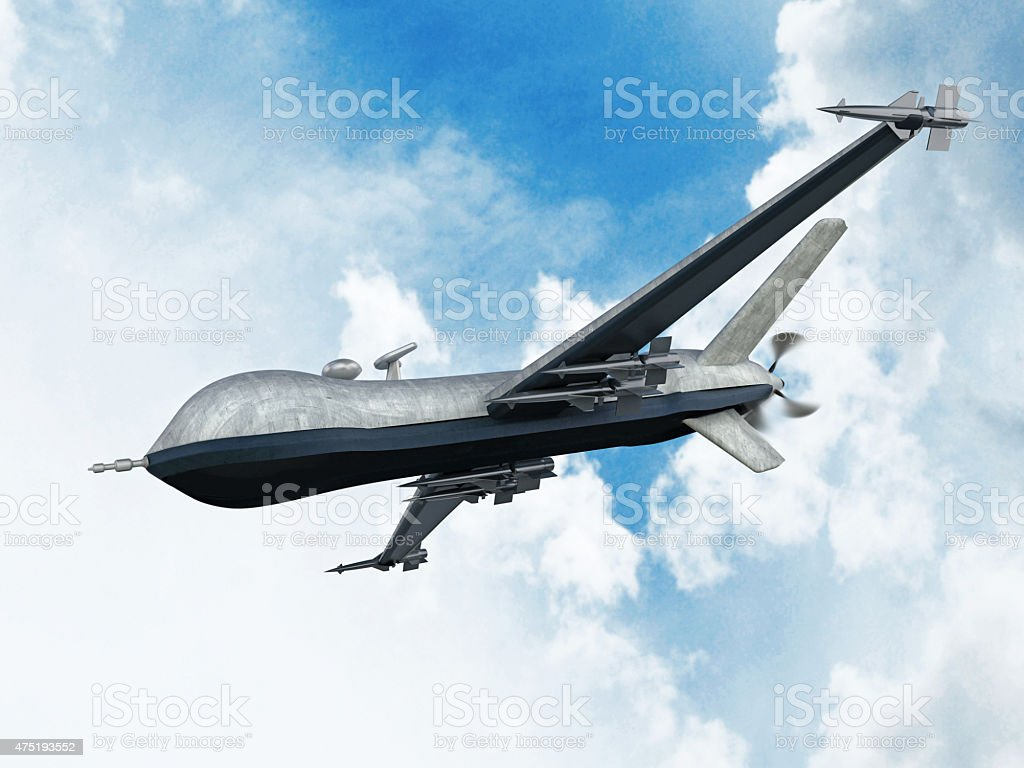 Armed Predator Drone Flying On The Sky Royalty Free Stock Photo