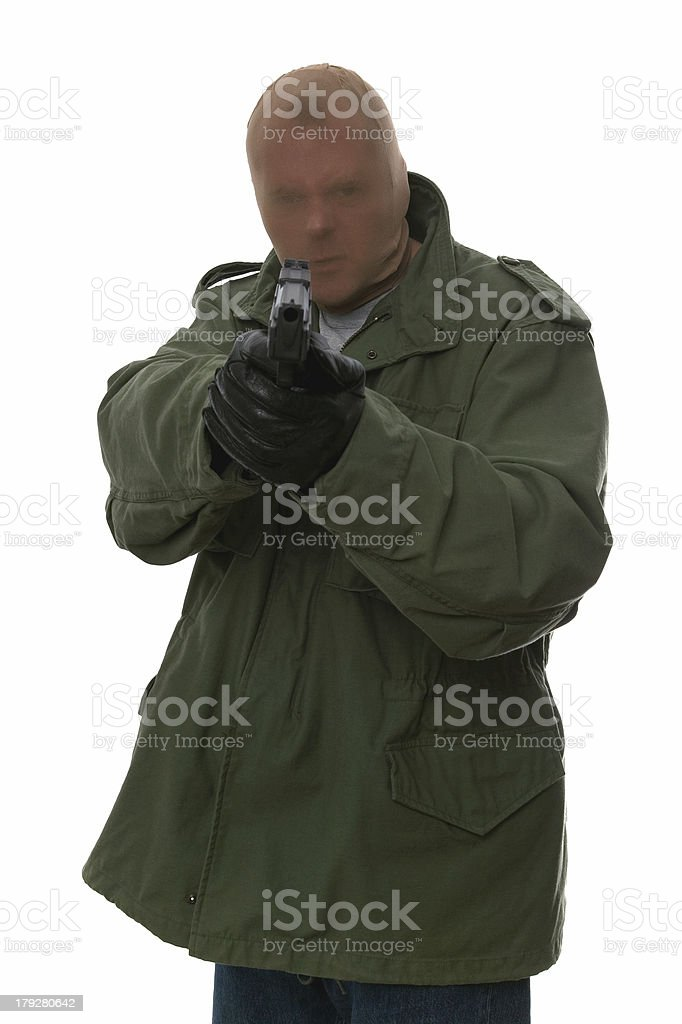 Armed robber stock photo