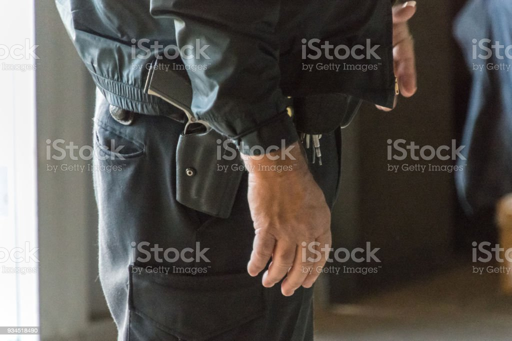 Armed Teacher stock photo