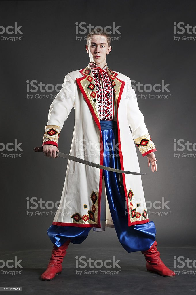 armed young cossack in national ukrainian dress stock photo
