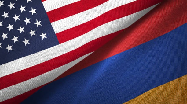 Armenia and United States two flags together realations textile cloth fabric texture Armenia and United States flags together realtions textile cloth fabric texture armenia country stock pictures, royalty-free photos & images