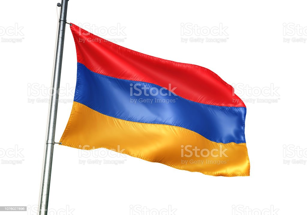 Armenia armenian flag waving isolated on white background realistic stock photo