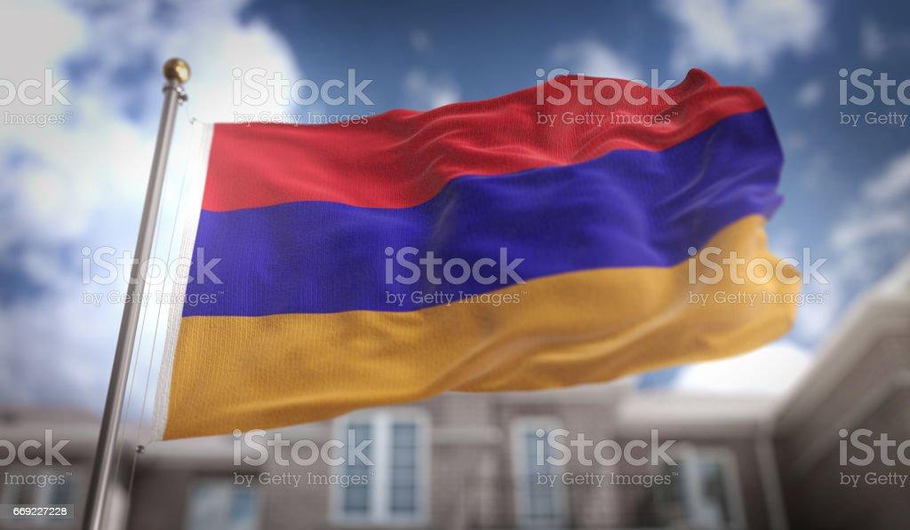 Armenia Flag 3D Rendering on Blue Sky Building Background stock photo