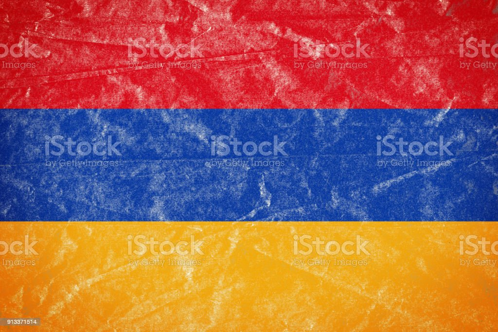 Armenia Flag on Wrinkled Crumbled Grunge Paper Poster stock photo