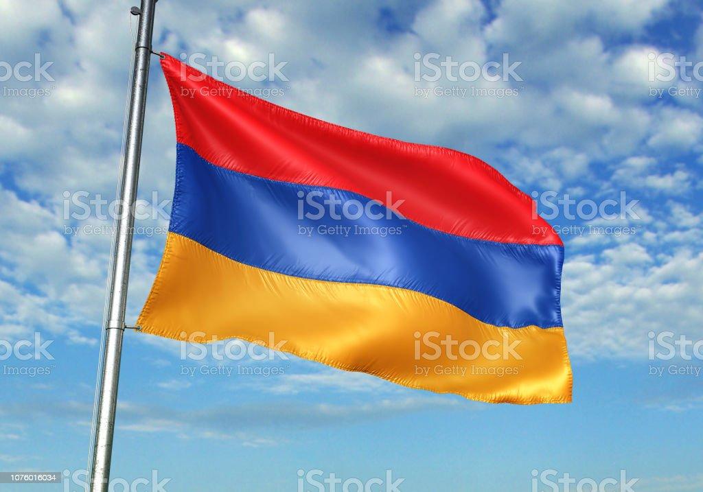Armenia flag waving cloudy sky background realistic 3d illustration stock photo