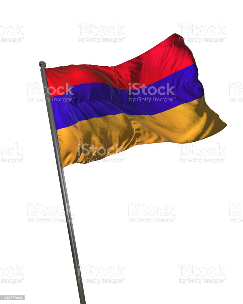 Armenia Flag Waving Isolated on White Background Portrait stock photo