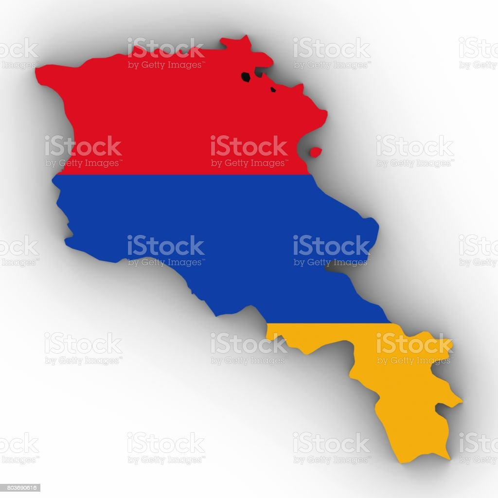 Armenia Map Outline with Armenian Flag on White with Shadows 3D Illustration stock photo