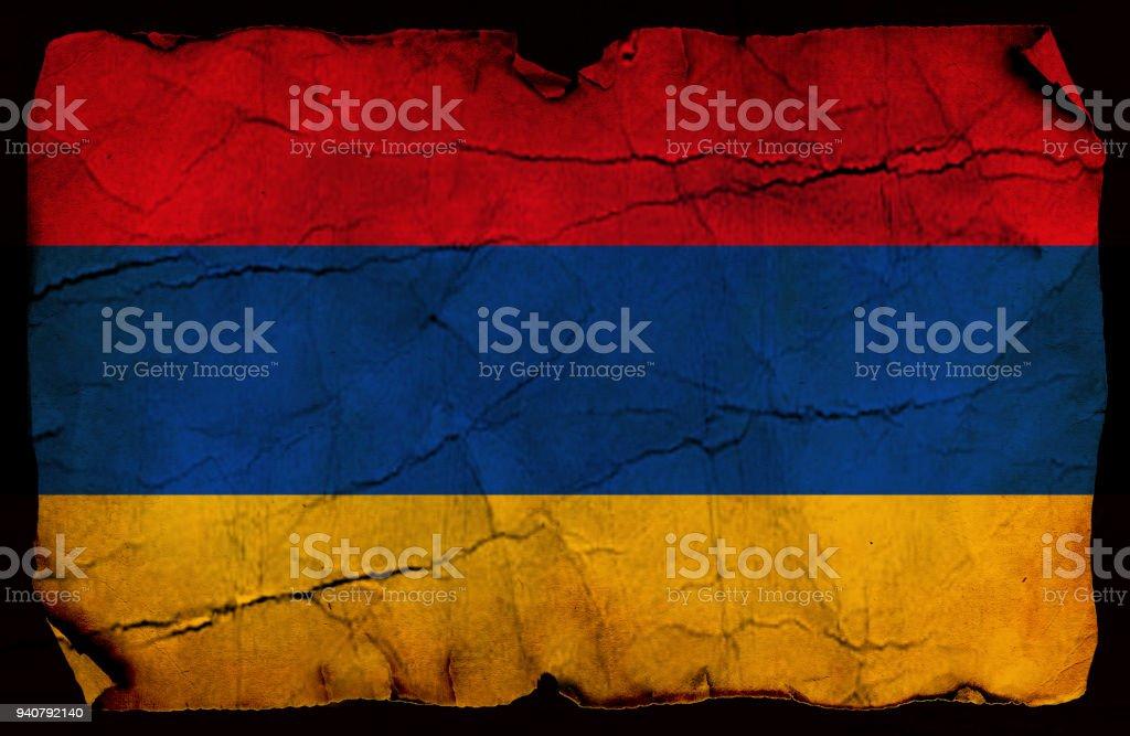 Armenia old flag stock photo