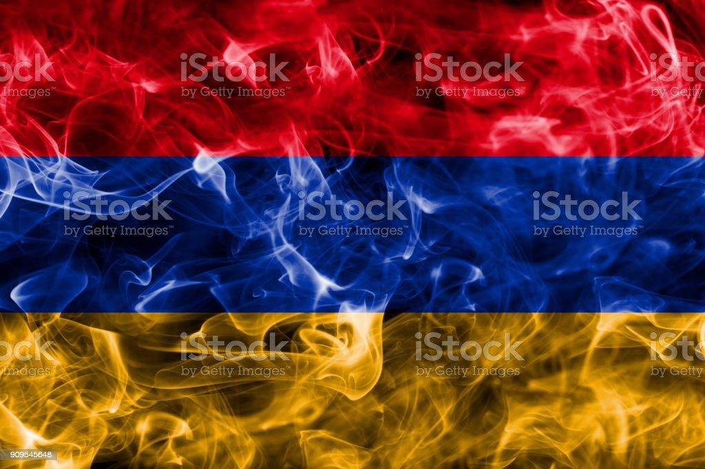 Armenia smoke flag stock photo