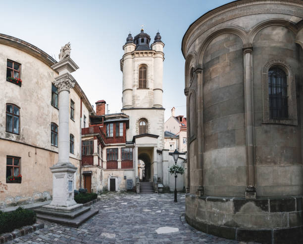 Armenian Cathedral in Lviv, Ukraine The Armenian Cathedral of the Assumption of Mary in Armenian Courtyard, Old Town of Lviv with its beautiful architecture, Ukraine. armenian culture stock pictures, royalty-free photos & images