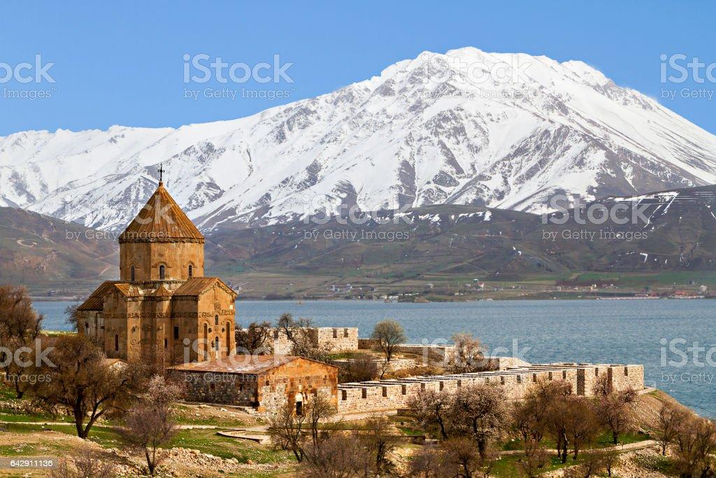 Armenian Church of the Holly Cross on Akdamar Island, Lake Van, Turkey stock photo