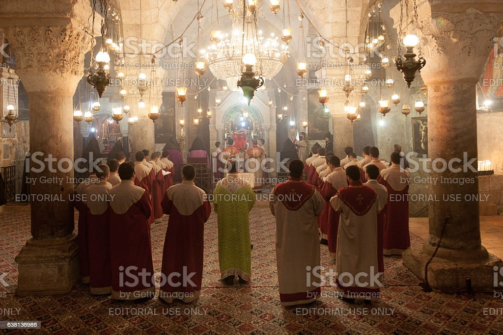 Armenian clergymant in Holy Sepulchre Church stock photo