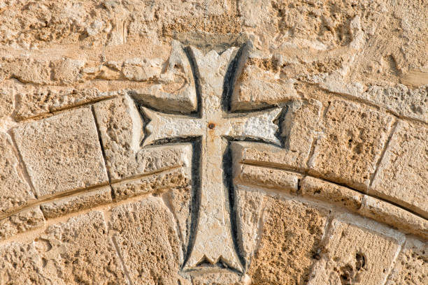 Armenian cross Armenian cross sculpted on the rock armenian culture stock pictures, royalty-free photos & images