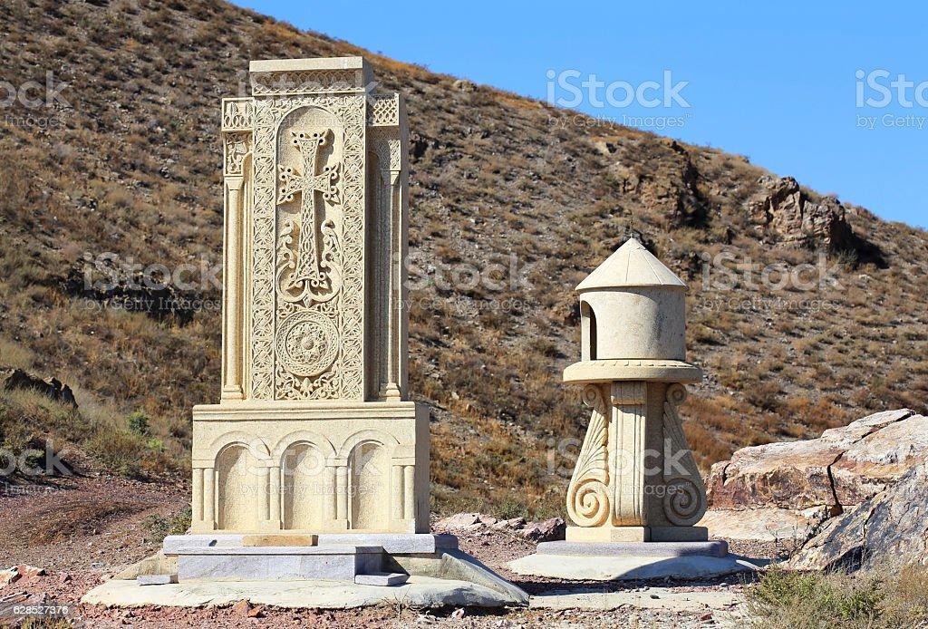 Armenian cross-stone stock photo