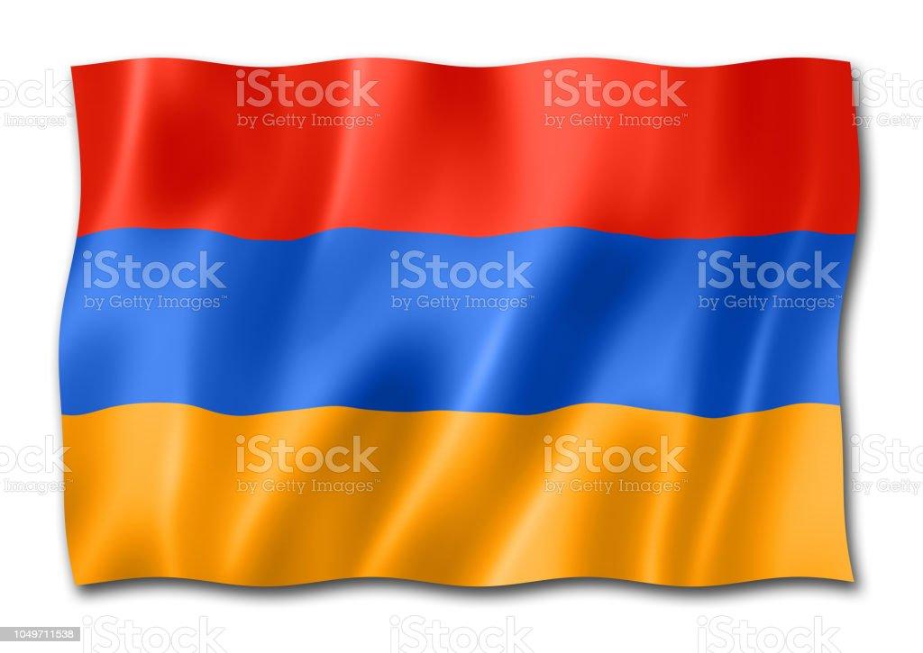 Armenian flag isolated on white stock photo