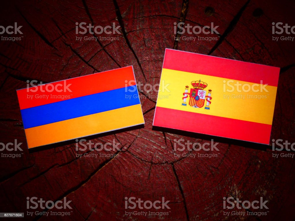 Armenian flag with Spanish flag on a tree stump isolated stock photo