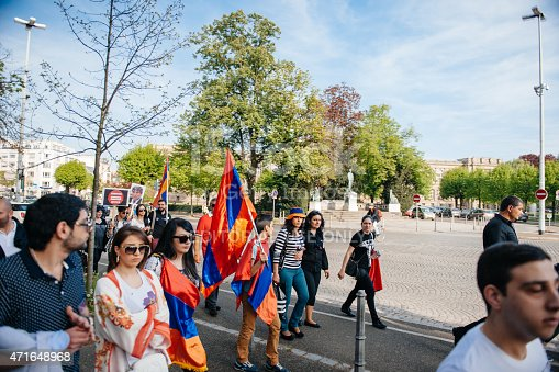 istock Armenian genocide 100th rememberance march in France 471648968