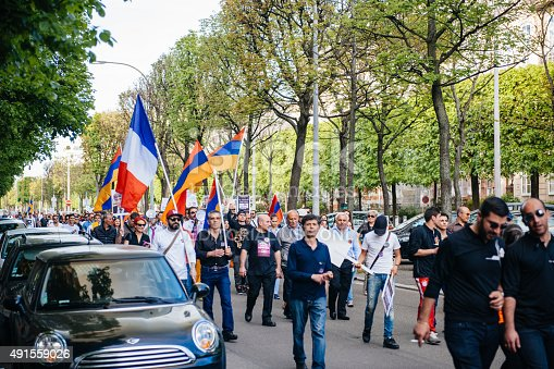 istock Armenian genocide 100th  rememberance march in France 491559026