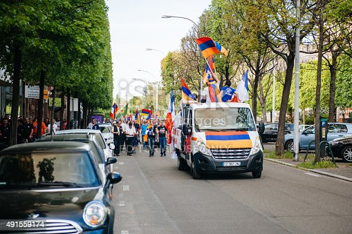 istock Armenian genocide 100th  rememberance march in France 491559174