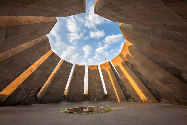 Armenian genocide memorial, Yerevan, Armenia Yerevan, Armenia - November 1, 2019: Armenian genocide memorial and its eternal flame at the sunset, in Yerevan, Armenia armenian genocide stock pictures, royalty-free photos & images