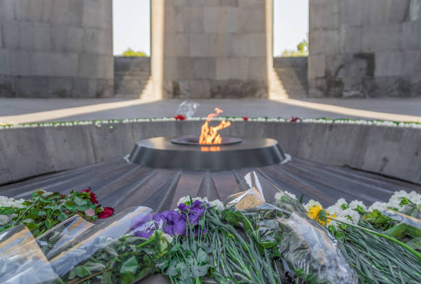 Armenian Genocide Museum, Yerevan. Armenia One of the most tragic events of the 20th century, the Armenian Genocide is still deep in the Armenian heritage and soul. Here in particular the Armenian Genocide museum of Yerevan armenian genocide stock pictures, royalty-free photos & images