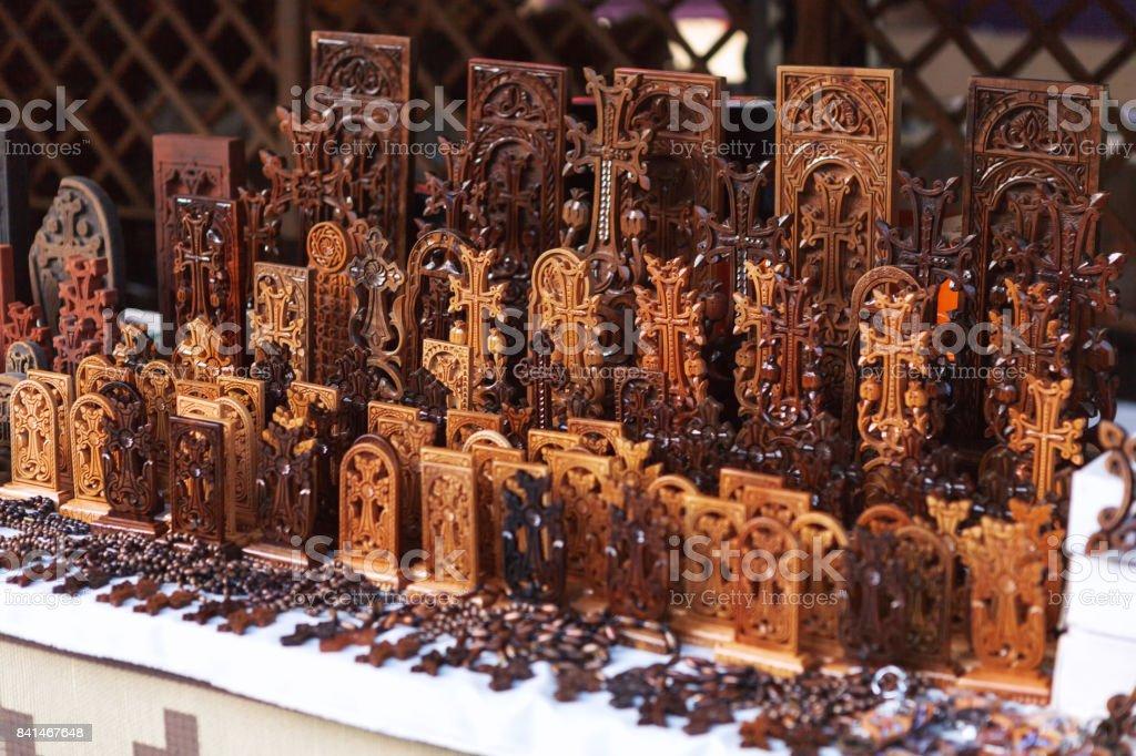 Armenian khachkars handmade in Yerevan market stock photo